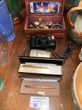 Collectable Watches, Pocket Watches, (2) Gold Cross Pens, (2) Camera