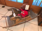 Antique Wooden Rocking Horse with Teddy Bear