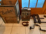 Lot, Antique Register, Drill, Wood Clamp and (2) Old Wood Crates