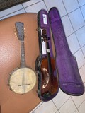 lot, Violin with Case and Banjo