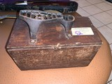 Antique Shoe Shine Wooden Box with Supplies Inside