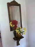Wall Mount Mirror, Vase and Shelf Sconce