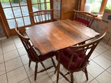 Drop Leaf Oak Kitchen Table with (4) Reverse Ladderback Chairs