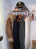 Clothes in Closet, Tux, Pee Coat, Several Hats and More