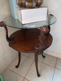 (2) Round Glass Top with Shelf Matching End Tables