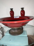 Giftwear, pair of Boxed Candlesticks and Raised Bowl