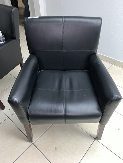 (3) Black Leather Client Chairs