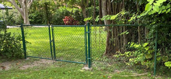 16' Of Green Epoxy Coated Fencing System With 8' Double Entry Gate