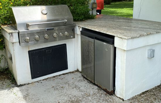 """Kitchenaid 36"""" Drop In Propane BBQ. All Stainless Steel With A 7' x 48"""" Granite Counter System And A"""