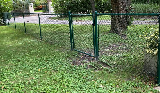 """40' Of Epoxy Coated Chain Link Fence. There Are Six Sections, Each Section is 6' And A 36"""" Gate With"""