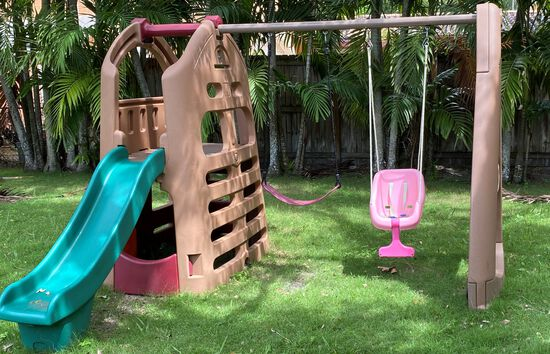 Durable Hard Plastic Portable Swing Set With Two Swings, Child Slide And Fort