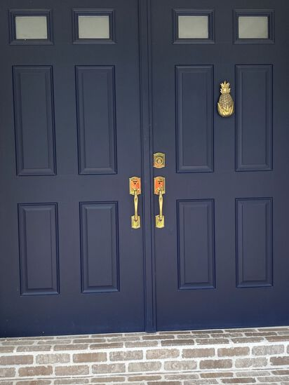 6' Blue Double Entry Doorway With Baldwin Lock Set. Complete With Jams. Must Cover With Plywood When