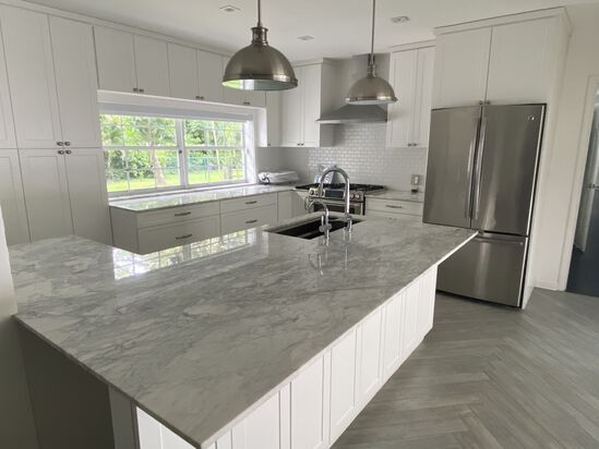 11' By 9' L-Shaped Carrera Marble White Kitchen, With 8' Island. Includes Six Double Doors, Upper Ca