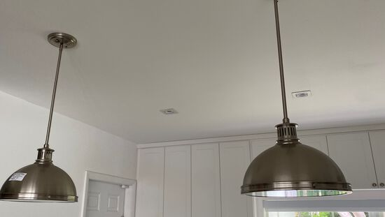 """Stainless Steel Pendant Lights With Large Drop. 12"""" Diameter"""