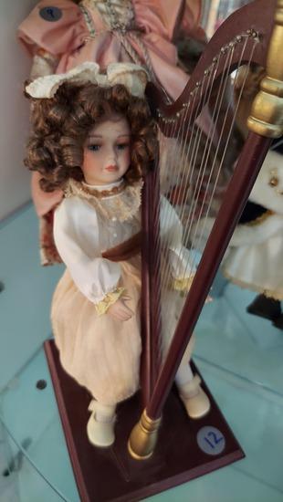 "12"" Porcelain Doll Playing Harp"