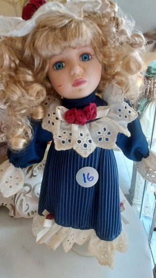 """13"""" Porcelain Doll On Stand"""