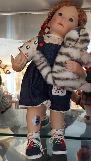 "15"" I Love Cats Porcelain Doll"