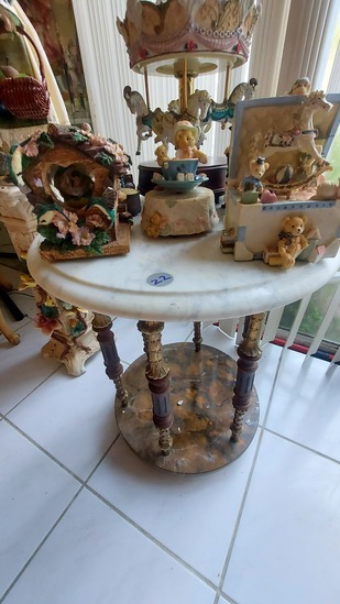 """22"""" Round Bevelled Marble Top Decorative Side Table"""