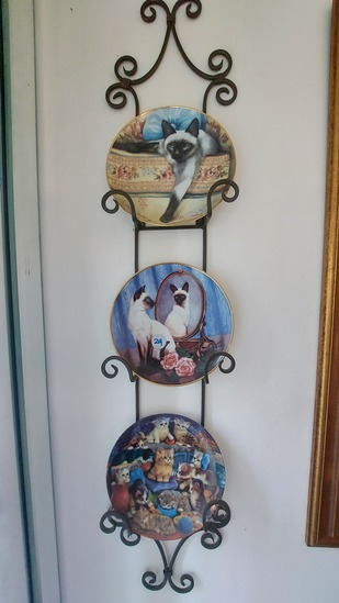 """Three Cat Plates On Wrought Iron Wall Plaque, 42""""H"""