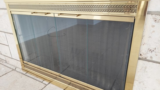 """53"""" W x 35""""H Brass Fireplace With Metal Screen and Glass Enclosure, Plus Wrought Iron Log Rack"""