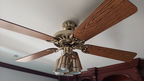 Four Blade Gold And Wood Ceiling Fan, With Light Kit