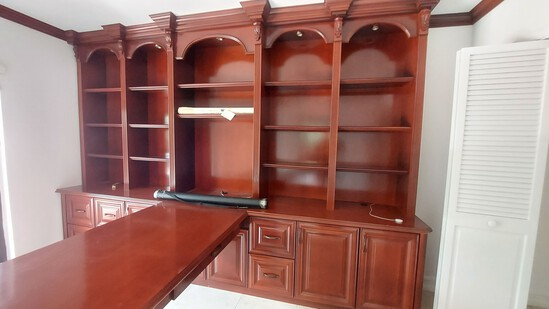 """Cherry Wood Office Suite, Including 141"""" Credenza And Book Case System, With 82"""" Oval Partner's Desk"""