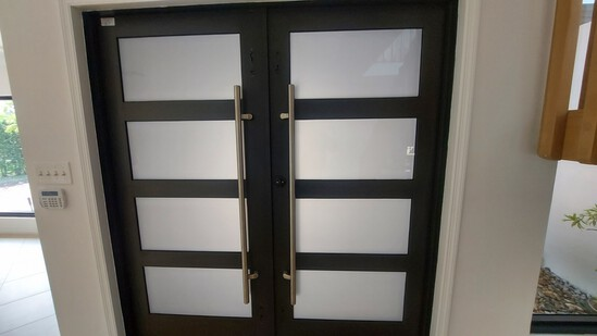 """75"""" Solid Wood Entry Door With (8) Frosted Glass Panels and Stainless Steel Hardware"""