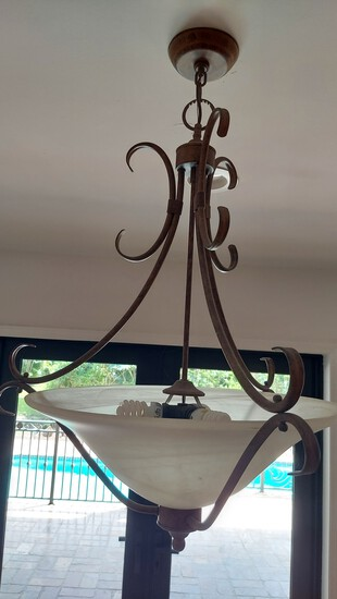 """34"""" Metal With Frosted Glass Iron Pendant Style Chandelier"""