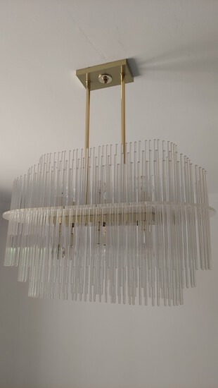 """34"""" Brass Chandelier With Decorative Glass Tube Design"""