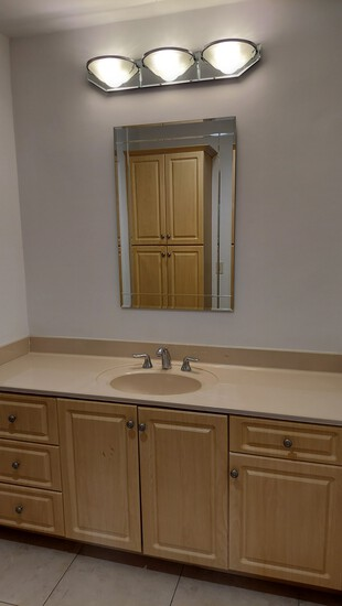 """Complete Bathroom, Including 69"""" Vanity With Formed Sink and Countertop, 87"""" Two Section Storage Cab"""