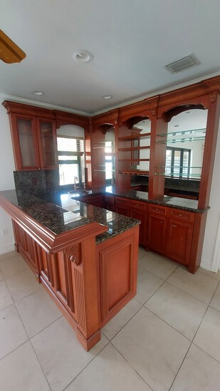"""Complete Cherry Wood Wet bar, Comprised Of 72"""" Mirrored Back bar Complete With Three Mirrored Openin"""