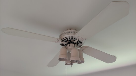 Four Blade White Ceiling Fan, With Light Kit