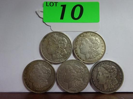 (5) AU-BU MORGAN SILVER DOLLARS: 1886, 1889, 1890, 1896, 1897