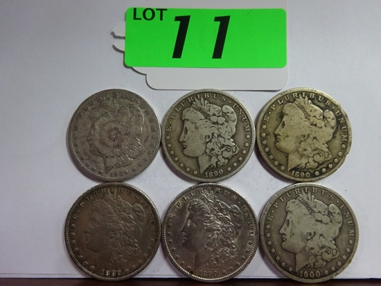 (6) MORGAN SILVER DOLLARS: 1882-S, 1889-O, (2) 1890-O, 1890-S, 1900-O. CIRCULATED CONDITION