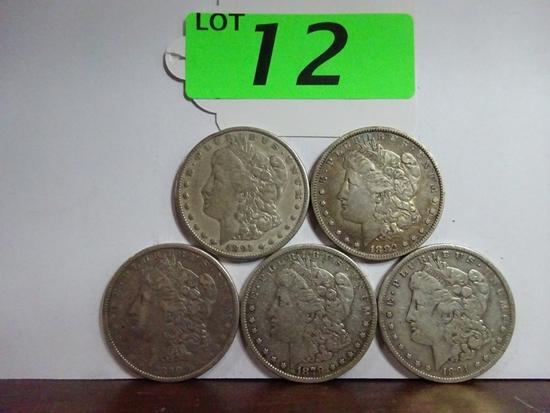 (5) MORGAN SILVER DOLLARS: 1879, 1882, 1890, (2) 1891. CIRCULATED CONDITION