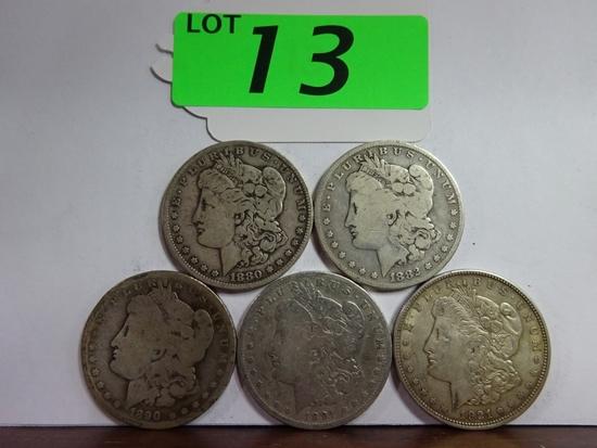 (5) MORGAN SILVER DOLLARS: 1880-O, 1882, 1890-O, 1891-O, 1921-D. CIRCULATED CONDITION