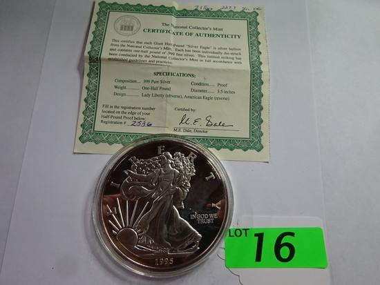 1995 1/2 LB. .999 FINE SILVER COIN