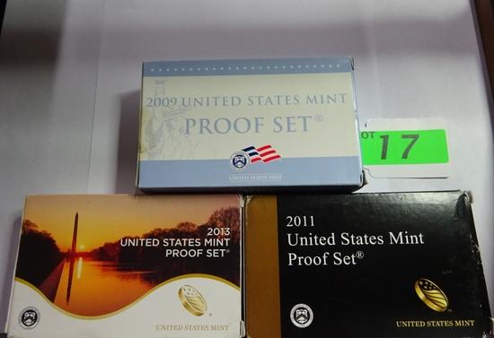 (3) U.S. MINT PROOF SETS: 2009, 2011, 2013