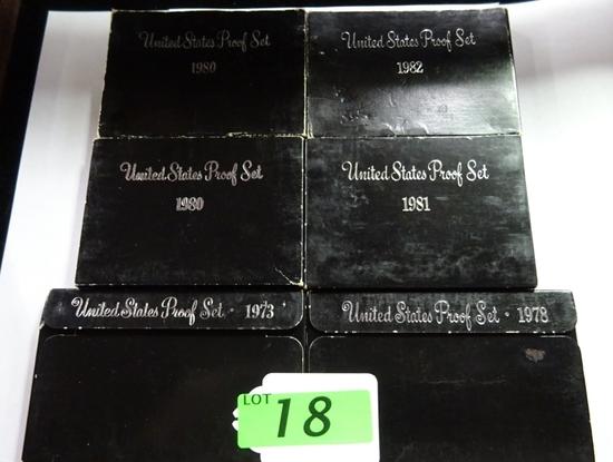(6) U.S. MINT PROOF SETS: 1973, 1978, (2) 1980, 1981, 1982