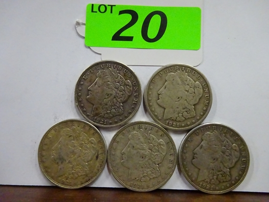 (5) MORGAN SILVER DOLLARS: (2) 1921, (2) 1921-D, 1921-S. CIRCULATED CONDITION
