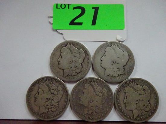 (5) MORGAN SILVER DOLLARS: 1879, 1880, 1882, 1885, 1886-O. CIRCULATED CONDITION
