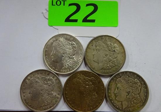 (5) MORGAN SILVER DOLLARS: 1882, (3) 1921, 1921-S. CIRCULATED CONDITION