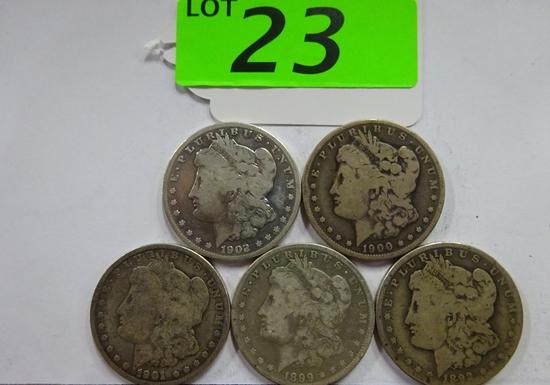 (5) MORGAN SILVER DOLLARS: 1892-O, 1899-O, 1900-O, 1901-O, 1902-O. CIRCULATED CONDITION