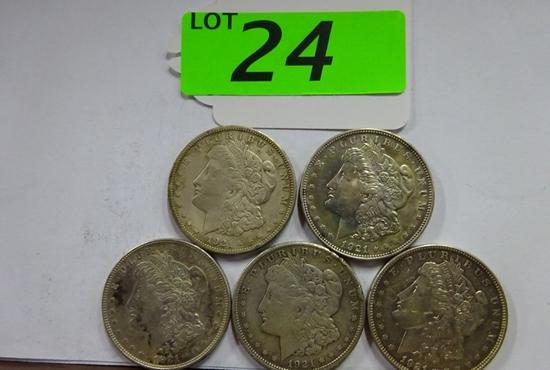 (5) MORGAN SILVER DOLLARS: (4) 1921, 1921-D. CIRCULATED CONDITION
