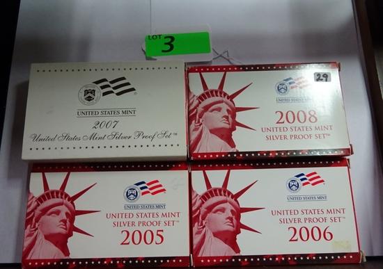 (4) U.S. MINT SILVER PROOF SETS: 2005, 2006, 2007, 2008.