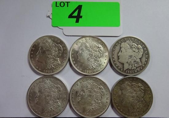 (6) 1921 MORGAN SILVER DOLLARS: (5) 1921; (1) 1921-D. FINE TO BU CONDITION