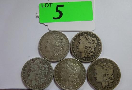 (5) MORGAN SILVER DOLLARS: 1879-S, 1880, 1881-S, 1882-O, 1883-O. CIRCULATED CONDITION