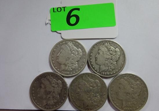 (5) MORGAN SILVER DOLLARS: 1889-O, 1890-O, 1891-S, 1899-O, 1900-O. CIRCULATED CONDITION