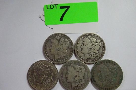(5) MORGAN SILVER DOLLARS: 1879, 1881-O, 1883, 1886-O, 1888-O. CIRCULATED CONDITION