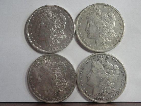 (4) VF-AU MORGAN SILVER DOLLARS, 1883-O, 1884, 1885-O, 1886